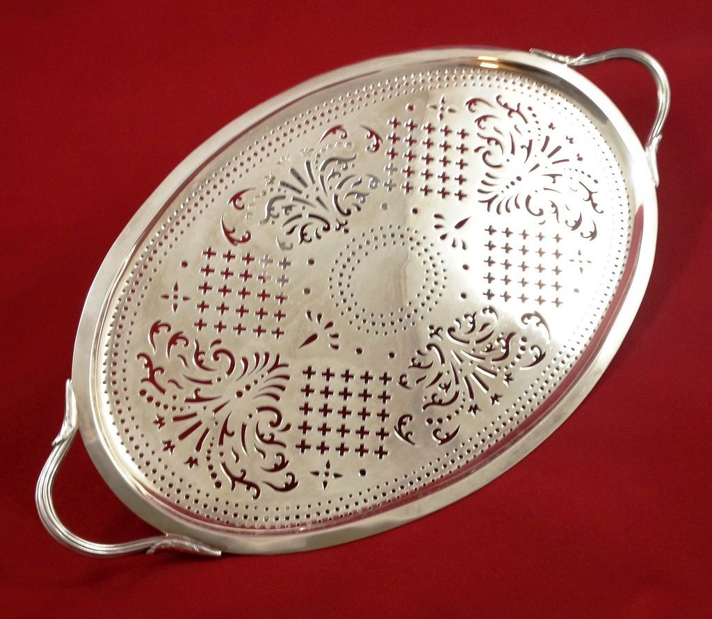 Superb George III sterling silver tray by T. Heming c. 1773