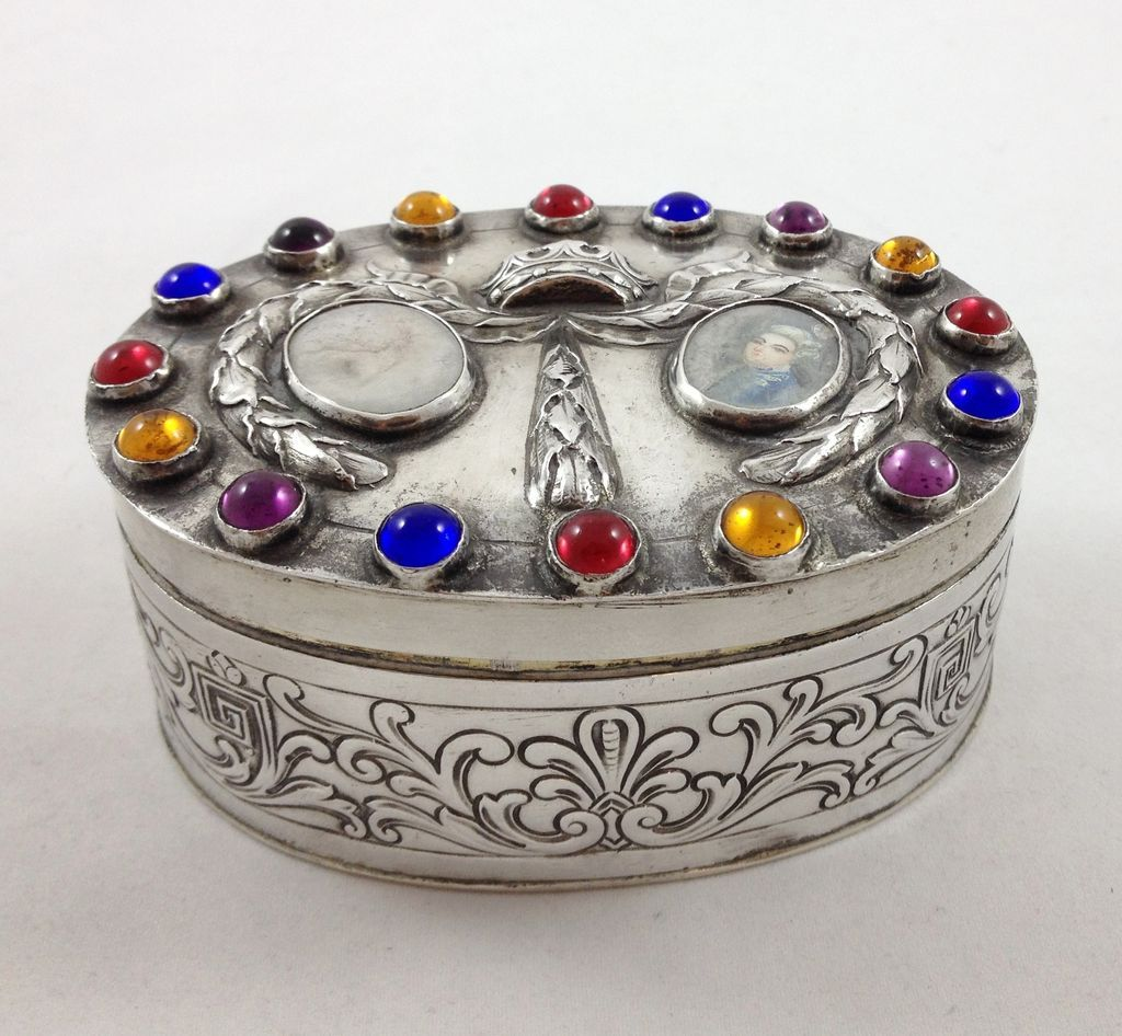 Beautiful German Hanau 800 silver box with jewels and enamel portrait