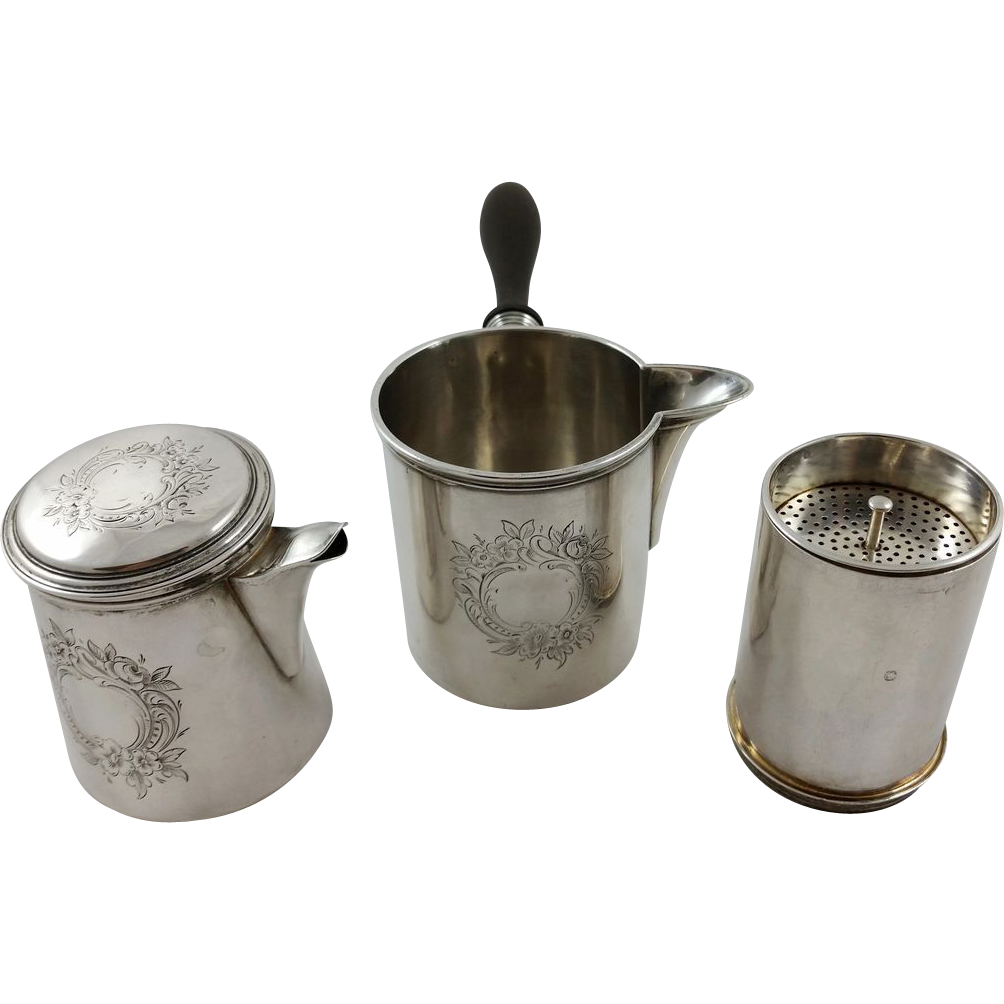 A Rare French 950 silver tea brewing set