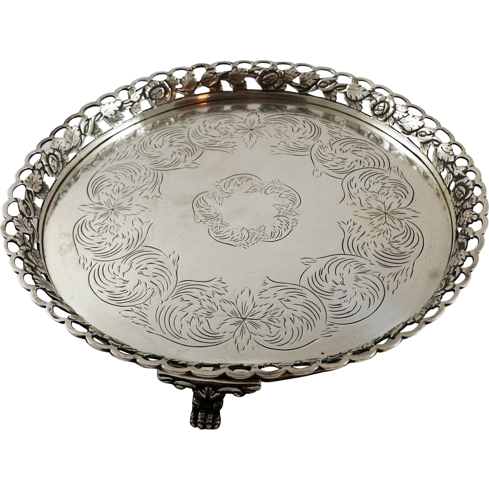 Nice Portuguese solid silver salver c. 1853-1861