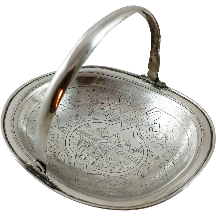 Russian 84 silver basket with an engraved scene