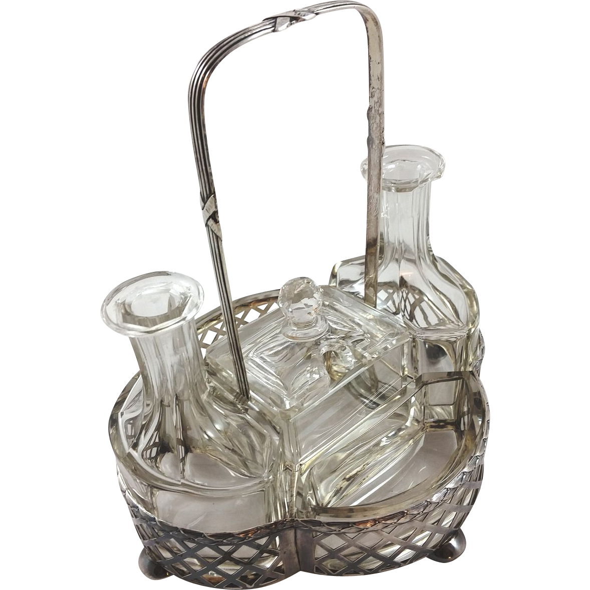 Five-piece 800 silver cruet set
