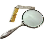 Latvian 875 silver set of mirror and com