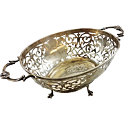 Large intricate English sterling silver basket c. 1901