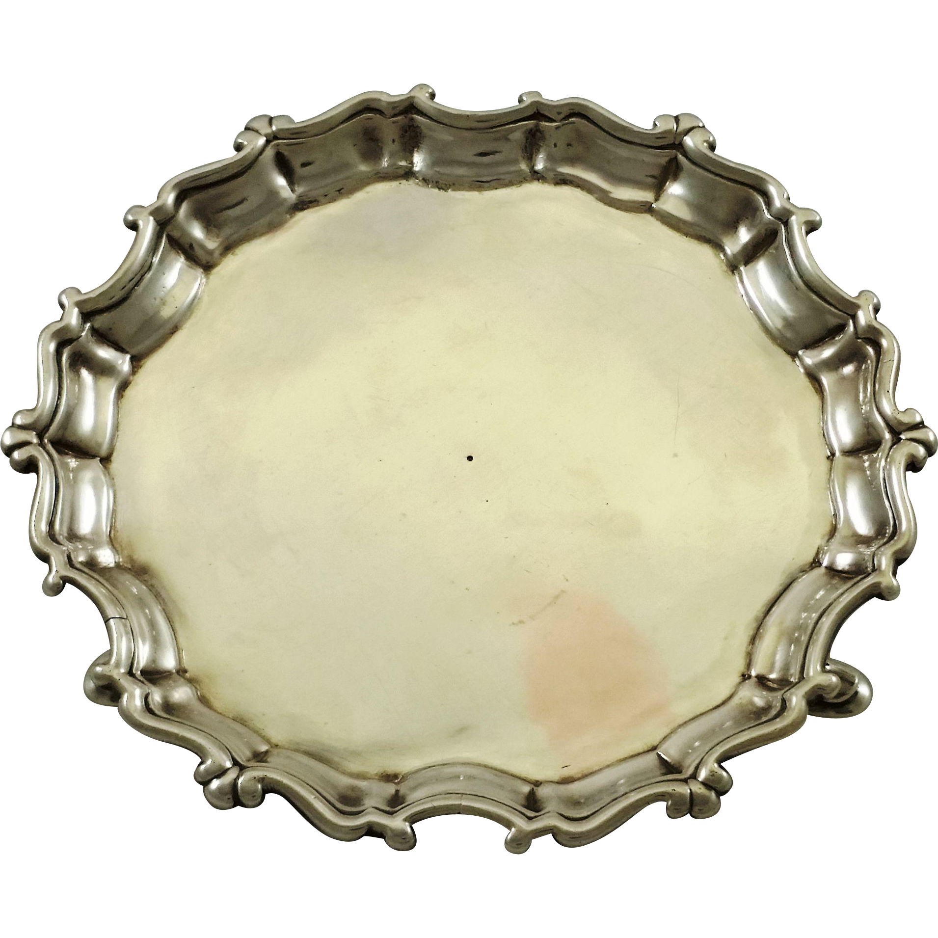 Rare Irish sterling silver salver by B. Mosse c. 1750