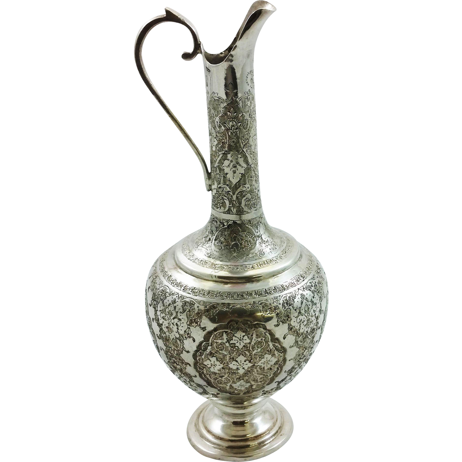 Beautiful Persian 875 silver wine jug
