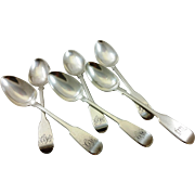 Six English sterling silver teaspoons
