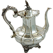 Fantastic Swedish 830 silver coffeepot with eagle finial c. 1856