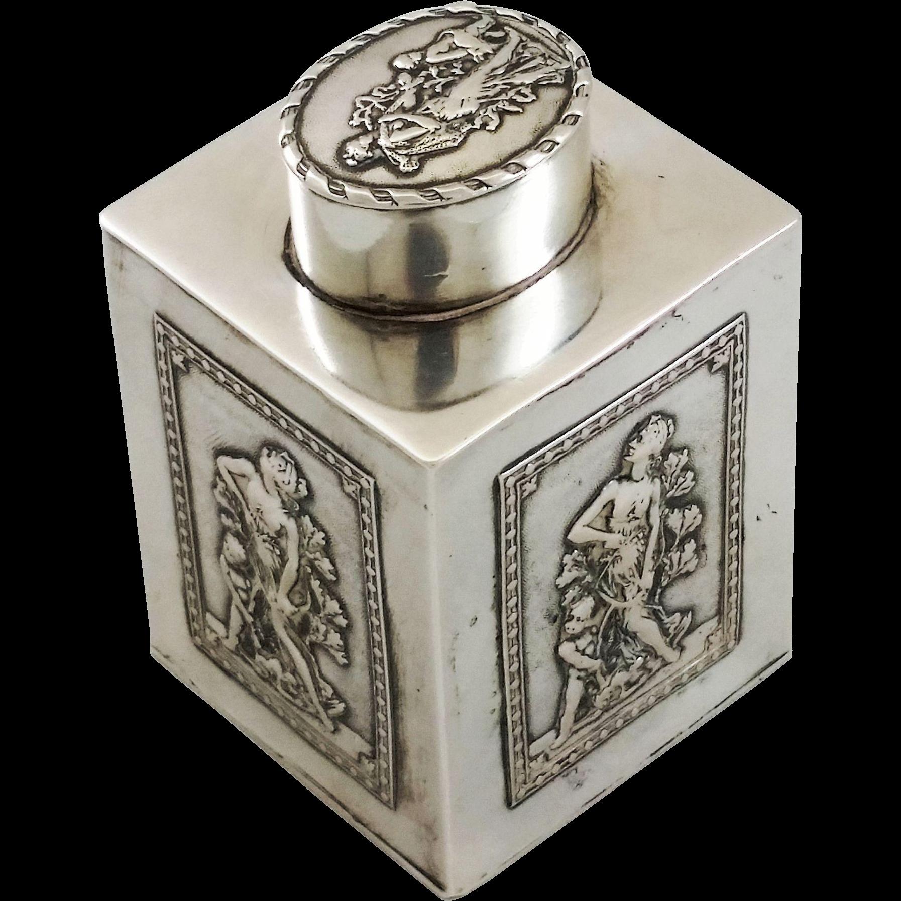 Beautiful 800 silver tea caddy, probably Austrian