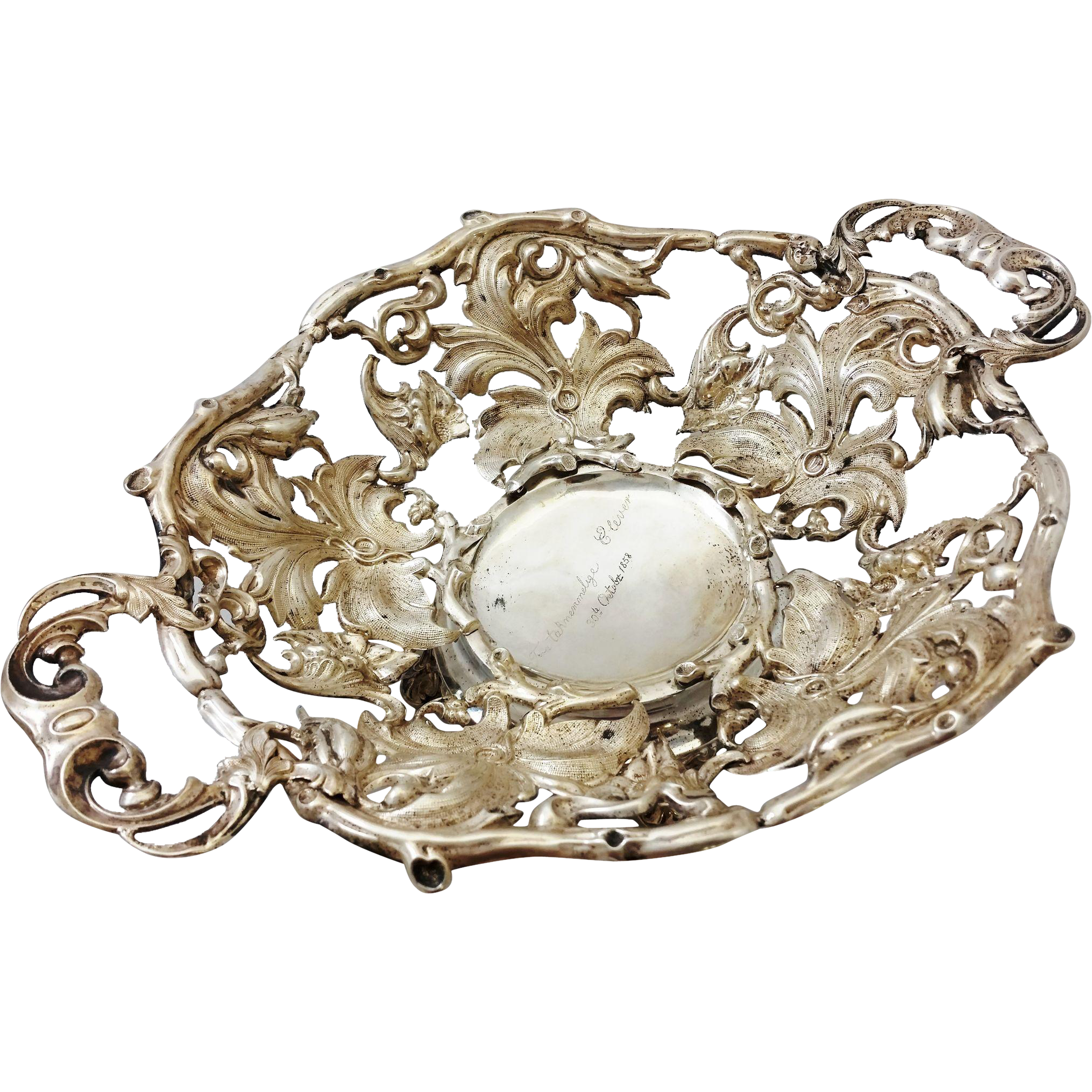 Unusual solid silver fruit basket c. 1858, probably Norwegian
