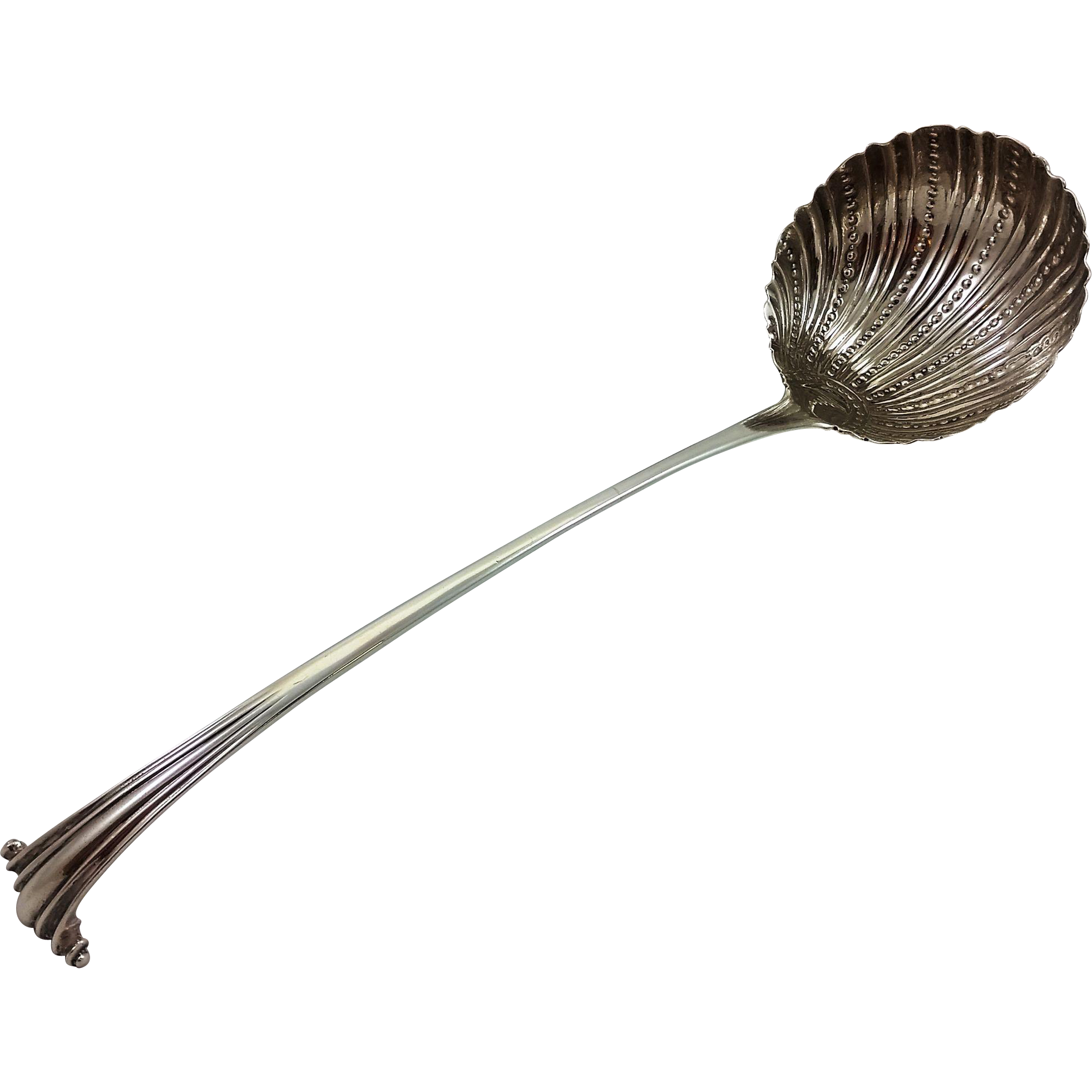English sterling soup ladle in Onslow pattern c. 1750s
