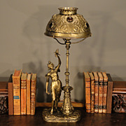 Signed Late Victorian Figural & Street Lamp Desk Lamp w/ Jeweled Brass Shade