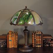 Signed Multi Color Slag Glass Panel Lamp