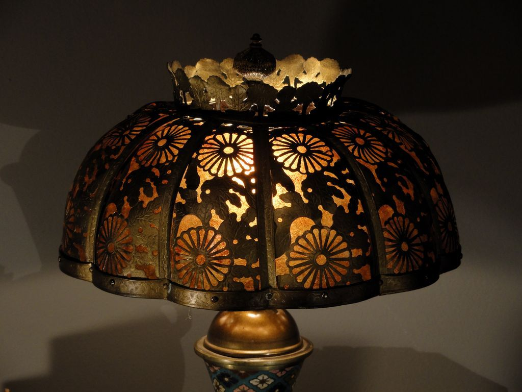 Chinese Champleve Lamp w/ Cut Brass Mica Lined Shade SOLD on Ruby Lane