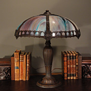 Signed Rainaud End of Day Slag Glass Lamp