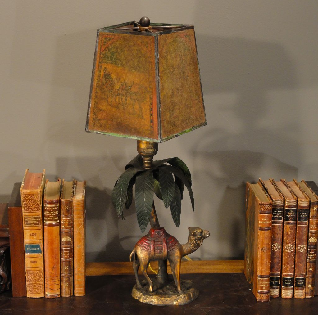 Bronze Camel Amp Palm Tree Lamp W Celluloid Pearline Shade