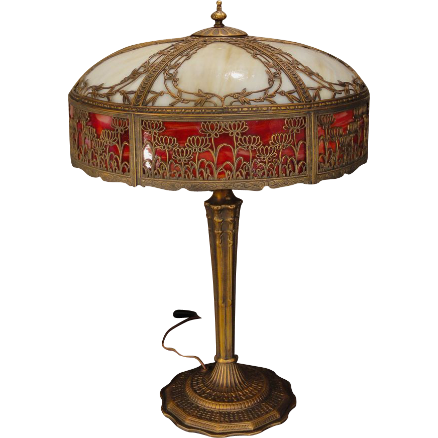 Large Beautiful Empire Double Slag Glass Lamp Sold On Ruby