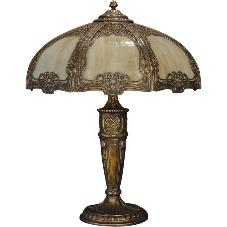 Large Gorgeous Art Nouveau Slag Glass Lamp Sold On Ruby Lane