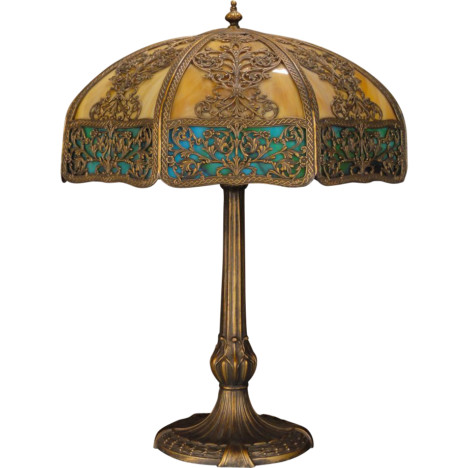 Large Elegant 16 Panel Slag Glass Lamp From Rubylane Sold