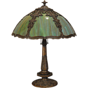 Marvelous Art Nouveau Trellis & Ivy Multi Colored Slag Glass Lamp