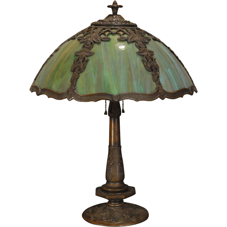 Ivy multi colored slag glass lamp from stidwillsantiques on ruby lane