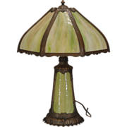 Large Slag Glass Lighted Base Lamp w/ Lotus Petal Base