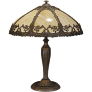 Large Wreath & Swag 8 Panel Slag Glass Lamp