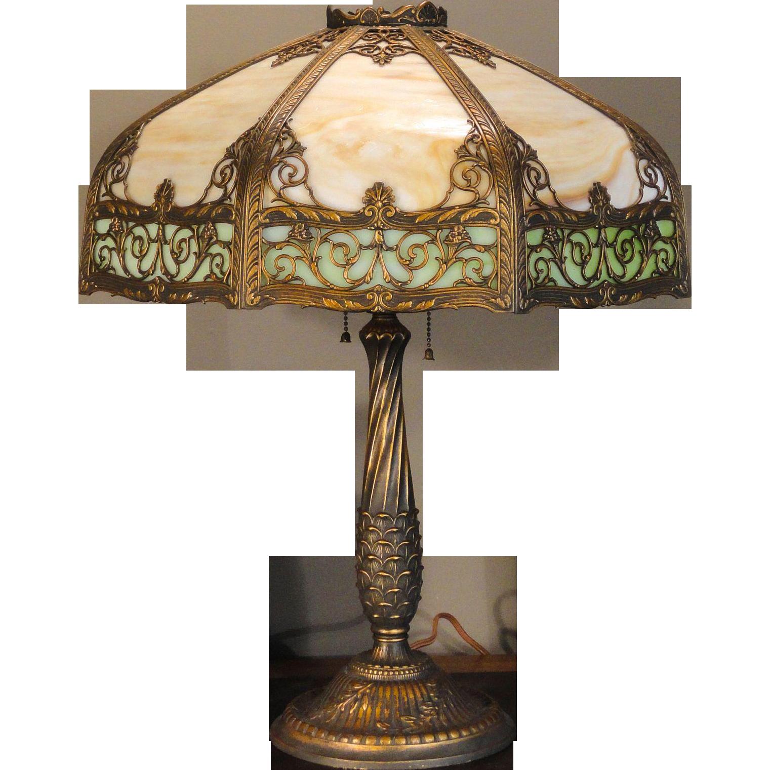 Large Ornate Rainaud Two Color 16 Panel Slag Glass Lamp SOLD on ...