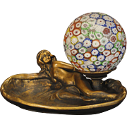Fabulous Art Nouveau Mermaid Figural Pin Tray w/ Millefiori Ball Shade