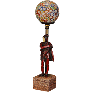 Art Deco Italian Theatrical Gerdago Figural w/ Millefiori Ball Shade