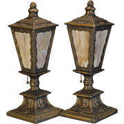 Pair Cameo Architectural Slag Glass Mantle Lamps