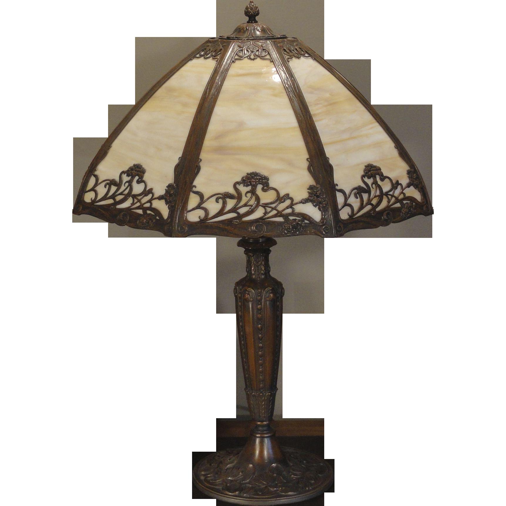 Large Art Nouveau Field Flowers Slag Glass Lamp