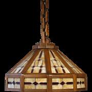 Large Original Arts & Crafts Oak Leaded Slag Glass Hanging Lamp