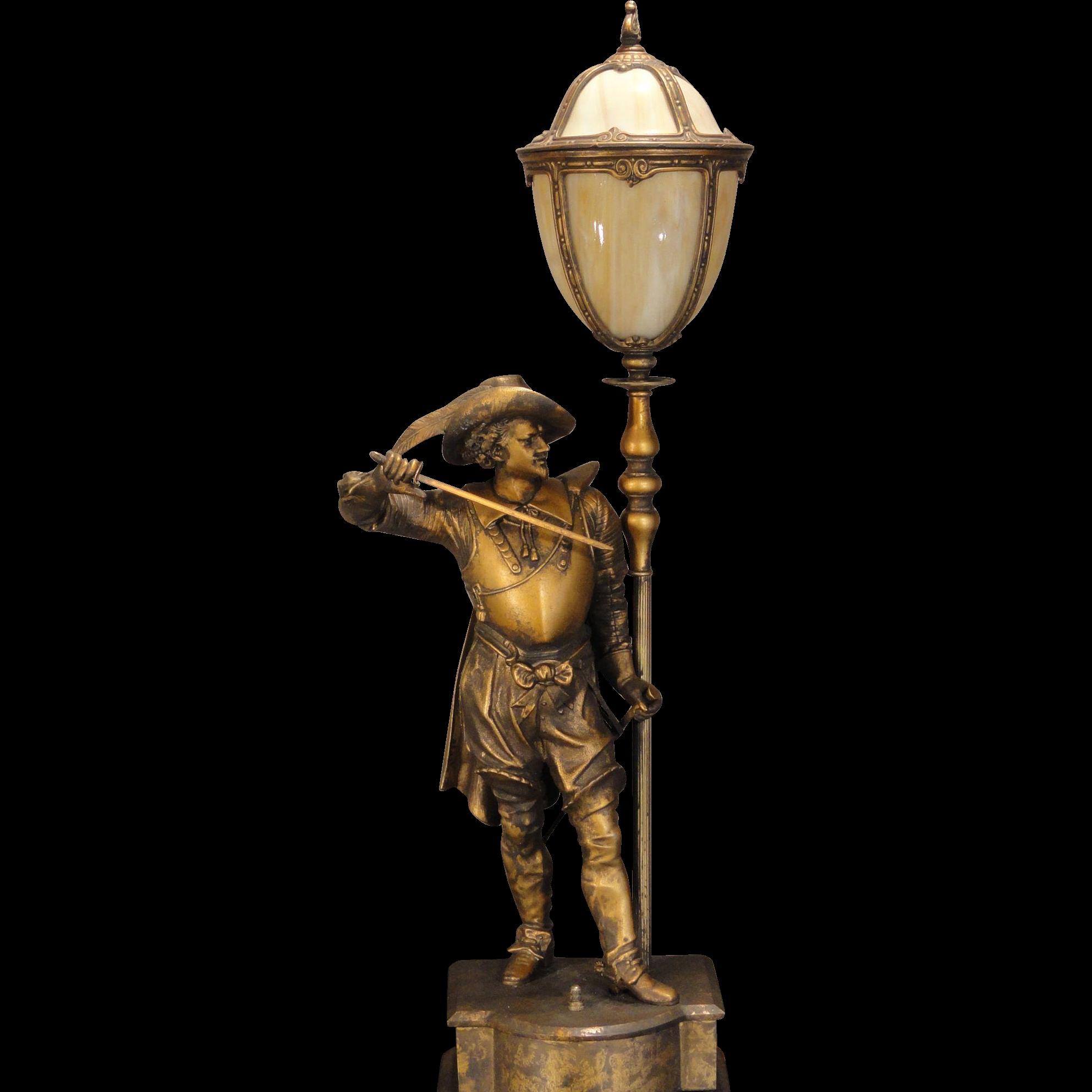 Large Stunning Cavalier Figural Lamp W Slag Glass Shade