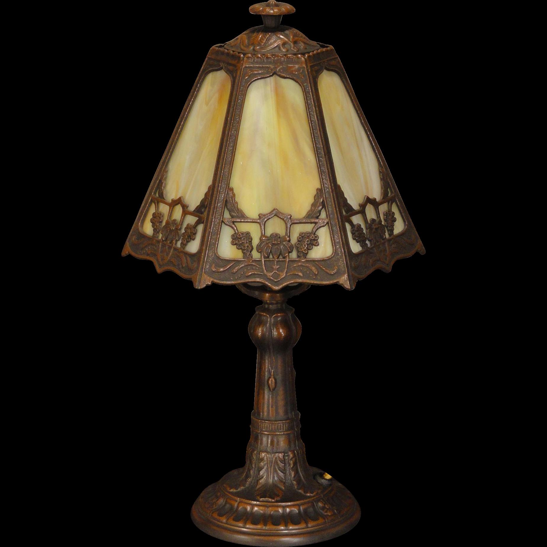 Lovely Art Nouveau Slag Glass Boudoir Lamp from stidwillsantiques ...