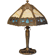 Stately 16 Panel Wreath & Bow Slag Glass Lamp