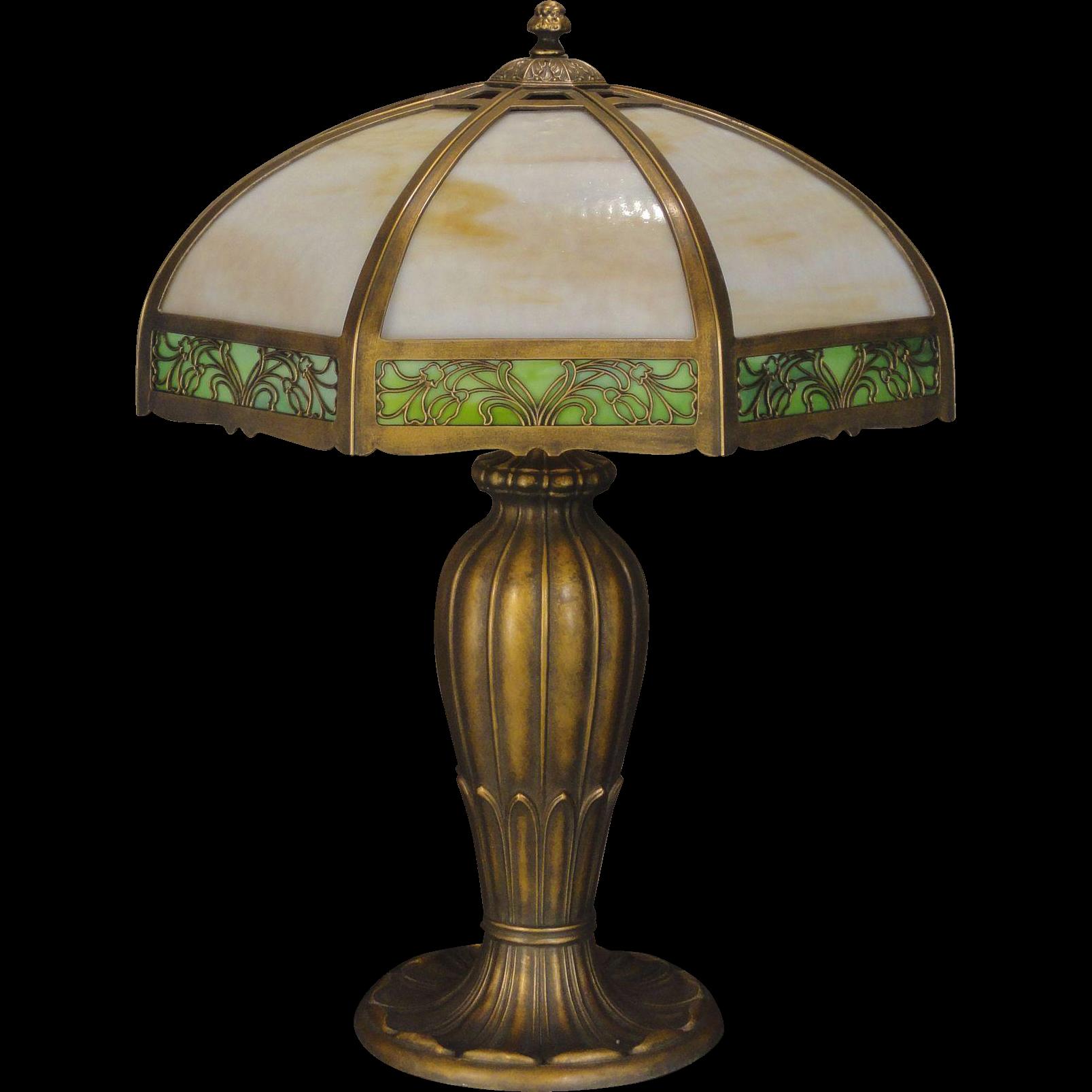 Large Elegant Art Nouveau 24 Panel Slag Glass Lamp From