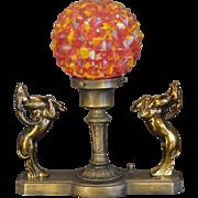 Art Deco Double Gazelle Slag Glass Studded Ball Shade Lamp