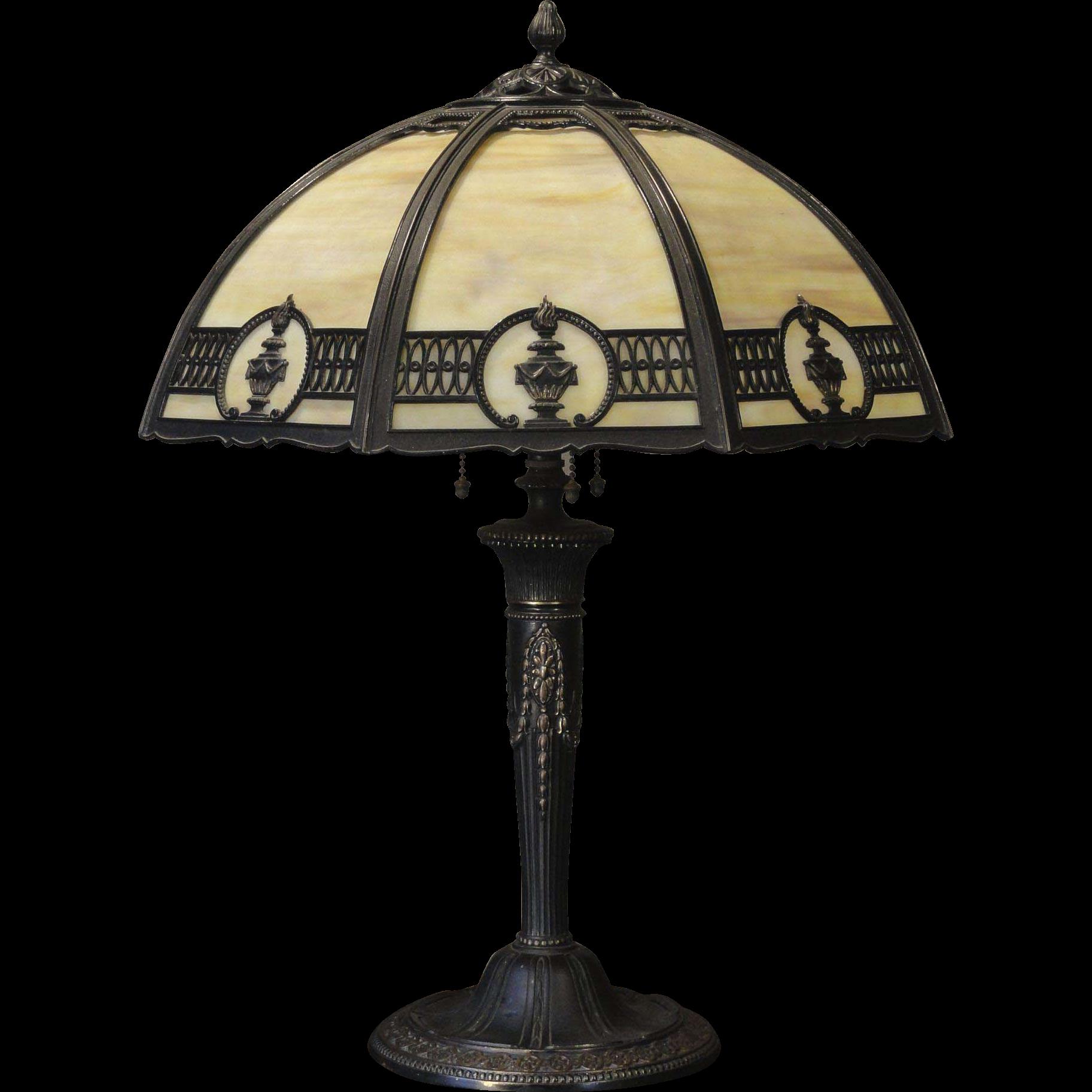 Classical Miller Torch Slag Glass Lamp