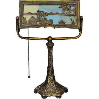 Unusual Tropical Double Sided Scenic Slag Glass Desk Lamp