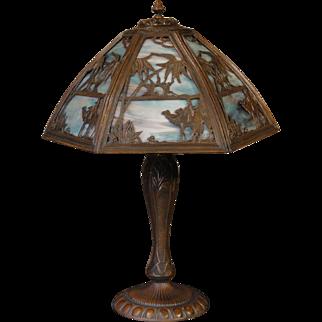 Large Fabulous Camel & Palm Tree Scenic Slag Glass Lamp