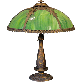 Large Gorgeous Well Made Gothic Slag Glass Lamp