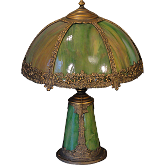 Very Sweet Small Floral Slag Glass Lighted Base Lamp