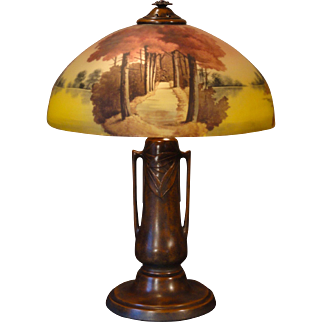 Large Fabulous Phoenix/ Pittsburgh Wooded Walk Reverse Painted Etched Glass Lamp