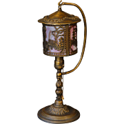Tall Boudoir / Entryway Scenic Hanging Shade Slag Glass Lamp