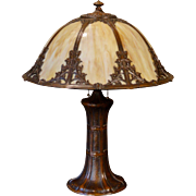 Large Gorgeous Arts & Crafts Umbrella Shade Slag Glass Lamp