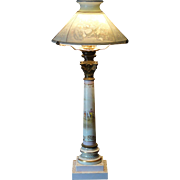 Very Rare Biedermeier Museum Quality Colored Lithophane Shade Porcelain Lamp