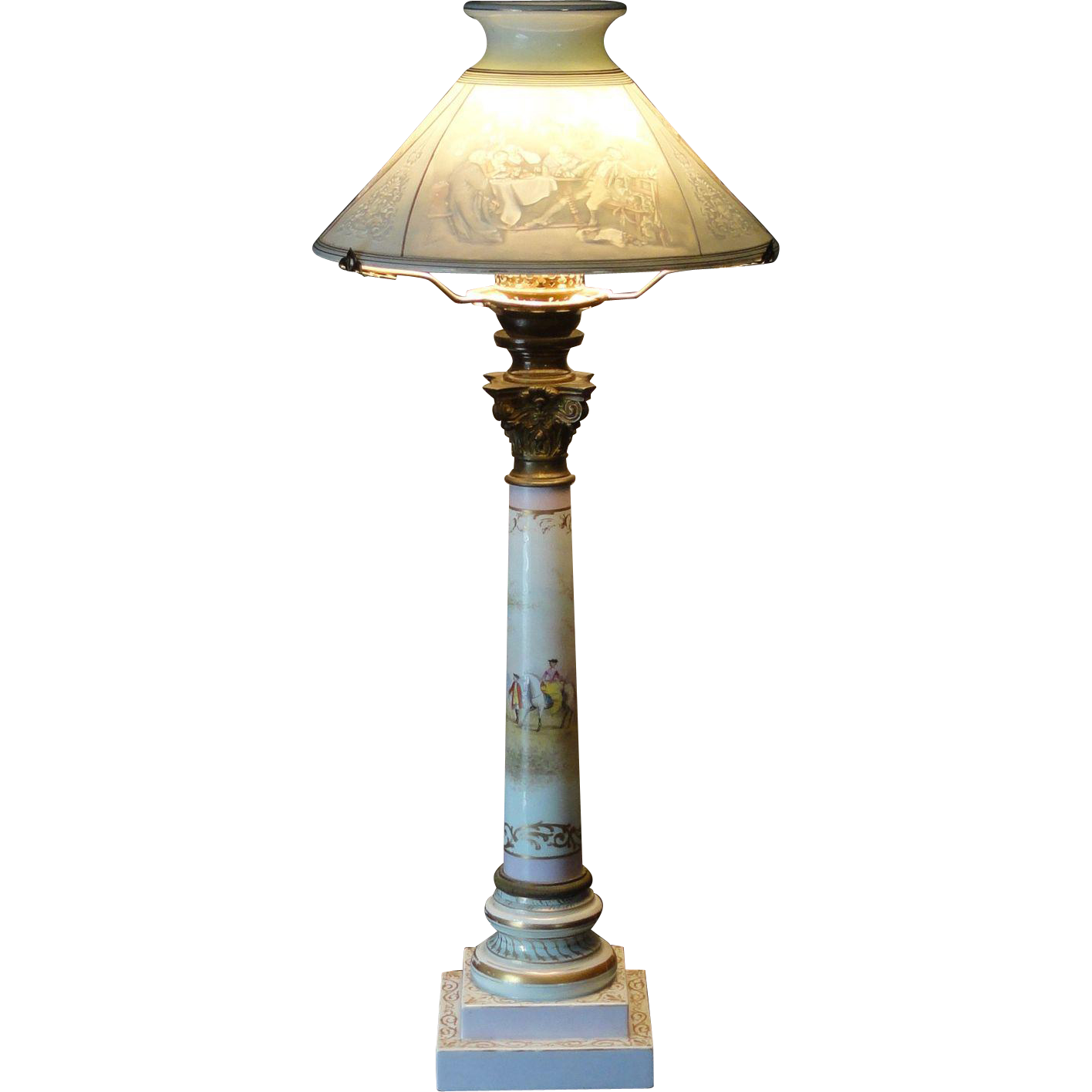 Very Rare Biedermeier Museum Quality Colored Lithophane Shade Porcelain Lamp