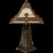 Beautiful Arts & Crafts Pagoda Shade Greek Key Slag Glass Lamp