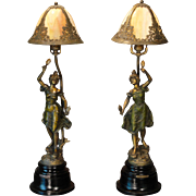 Rare Pair Art Nouveau Figural Mantle/ Credenza/ Newel Post Slag Glass Lamps